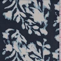 *3 YD PC--Deep Blue Abstract Floral Rayon Chiffon