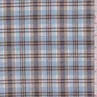 *3 YD PC--Light Blue/Cocoa Plaid Oxford Shirting