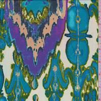 *3 YD PC--Beige/Teal Watercolor Diamond Jersey Knit