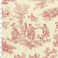 *2 YD PC--Ivory/Rose Red Toile Jacquard Home Decorating Fabric