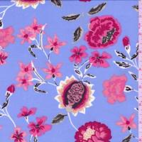 *2 5/8 YD PC--Sky Blue/Fuchsia Floral Jersey Knit