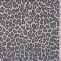 *5 1/8 YD PC--Pale Tan Cheetah Mini Rib Knit