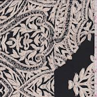 *1 1/4 YD PC--Black/Beige Leaf Scroll Silk Crepe de Chine