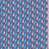 *3 1/4 YD PC--Sky Blue Cockatoo Hammered Crepe de Chine