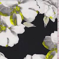 Black/Pearl Modern Floral Scuba Knit