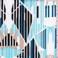 Turquoise/Black/Tan Linear Geo Scuba Knit