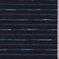 Navy Novelty Stripe Cotton Lawn