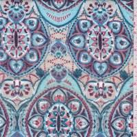Spa Blue/Beige Medallion Smocked Jersey Knit