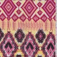 Coral/Yellow Diamond Smocked Jersey Knit