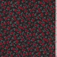*2 1/2 YD PC--Black/Red Mini Floral Rayon Georgette
