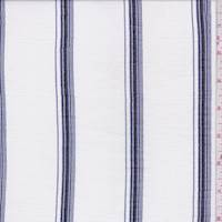 White/Ink Stripe Cotton Muslin