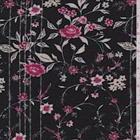 *2 1/4 YD PC--Black/Berry Floral Vine Jersey Knit