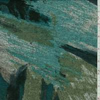 *3 3/8 YD PC--Turquoise/Grey Multi Brushstroke Sweater Knit