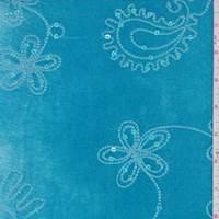 Turquoise Floral Sequin Velvet Knit