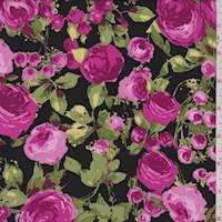 *2 YD PC--Black/Deep Pink Rose Rayon Challis