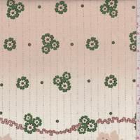 *4 YD PC--Beige/Kelly Floral Cotton Poplin