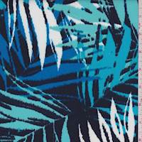 Navy/Aqua Palm Frond Scuba Knit
