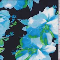 Navy/Aqua Modern Floral Scuba Knit