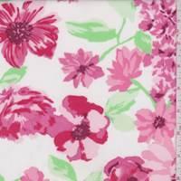 White/Pink Floral Garden Scuba Knit