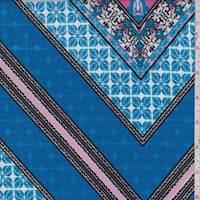 Aqua/Pink Deco Tile Scuba Knit