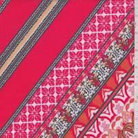 Bright Red/Orange Deco Tile Scuba Knit