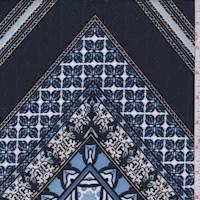 Navy/Periwinkle Deco Tile Scuba Knit