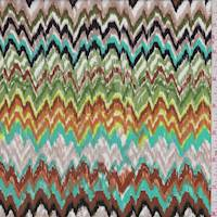 Taupe/Aqua Green Flamestitch Chevron Rayon Challis