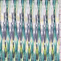 Lavender/Teal Flamestitch Rayon Challis