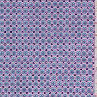 Pink/Aqua Deco Circle Rayon Challis