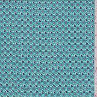 Teal/Purple Deco Circle Rayon Challis