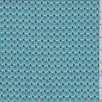 Teal/Purple Deco Circle Rayon Challis