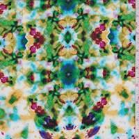 White Multi Kaleidoscope Rayon Challis