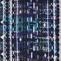 Violet/Pink/Black Aztec Stripe Rayon Challis