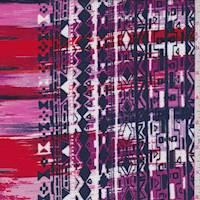 Red/Fuchsia/Navy Aztec Stripe Rayon Challis