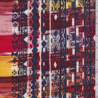 Brick/Orange/Slate Aztec Stripe Rayon Challis