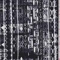 Silver/Black/White Aztec Stripe Rayon Challis