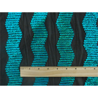 *3 YD PC--Black/Aqua Blue Wavy Sequin Stripe Mesh