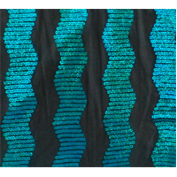 *2 YD PC--Black/Aqua Blue Wavy Sequin Stripe Mesh