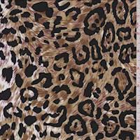 *1 YD PC--Tan Leopard Print Rayon Challis
