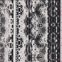 Ivory/Black/Grey Aztec Stripe Rayon Challis