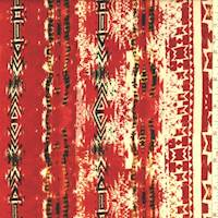 Red/Orange/Peach Aztec Stripe Rayon Challis
