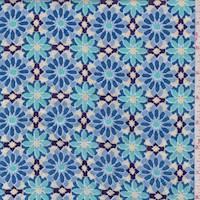 Plum/Dusty Blue Mosaic Floral Rayon Challis