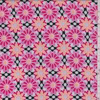 Black/Orchid Pink Mosaic Floral Rayon Challis