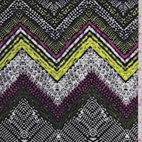Black/Lemon/Pink Deco Chevron Rayon Challis