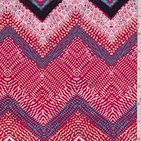 Red/Aqua/Buff Deco Chevron Rayon Challis