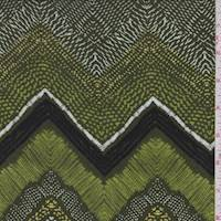 Forest/Lime/Yellow Deco Chevron Rayon Challis