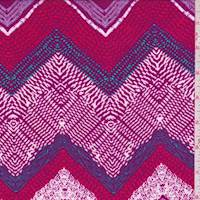 Mulberry/Red/White Deco Chevron Rayon Challis