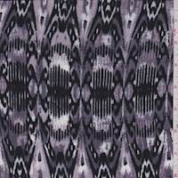 Dusty Plum Abstract Fleur de Lis Rayon Challis