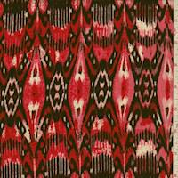 Cherry Red Abstract Fleur de Lis Rayon Challis