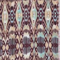 Golden Tan Abstract Fleur de Lis Rayon Challis
